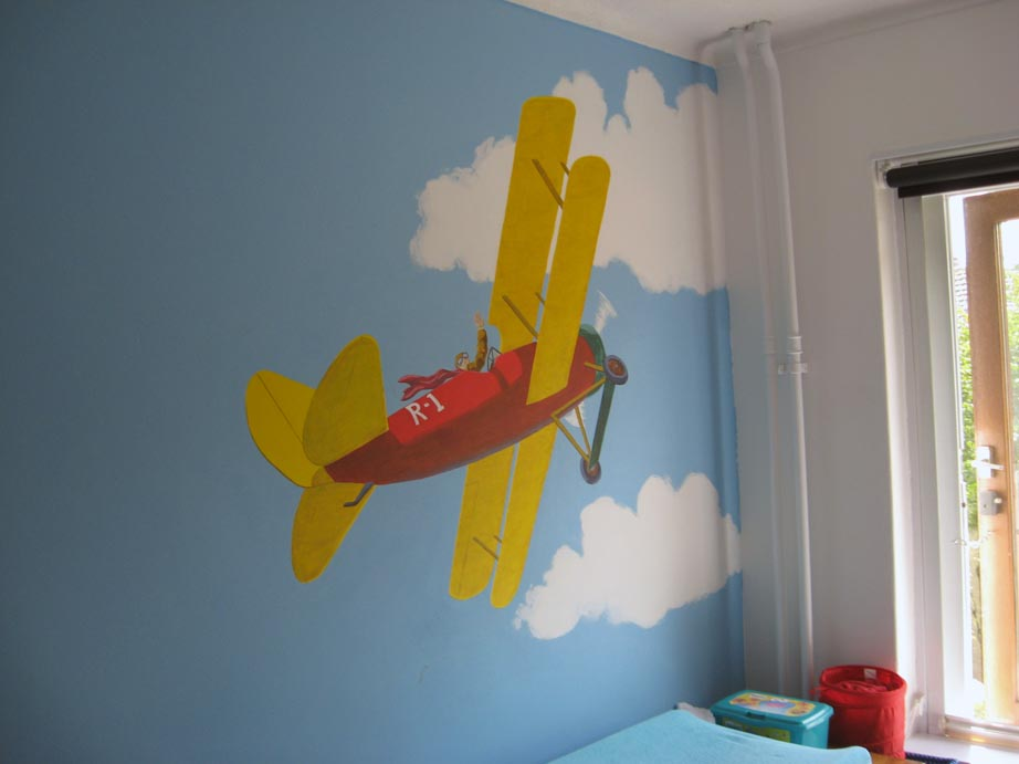 A boys bedroom mural for Airplane cockpit wall mural