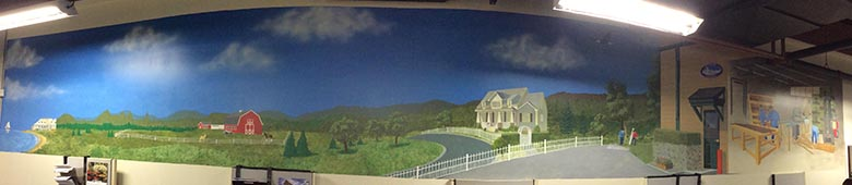 Mural on wall of Riverside Fence office in Ridgefield CT