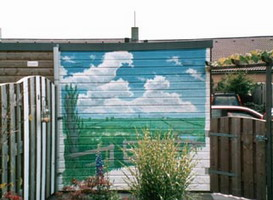 painting on a shed wall