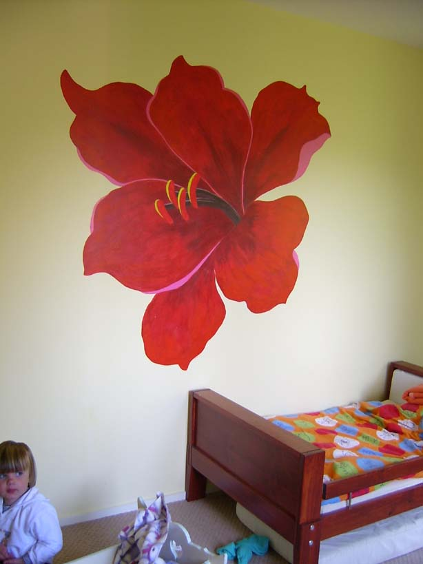 Young girls bedroom flower for Mural flower